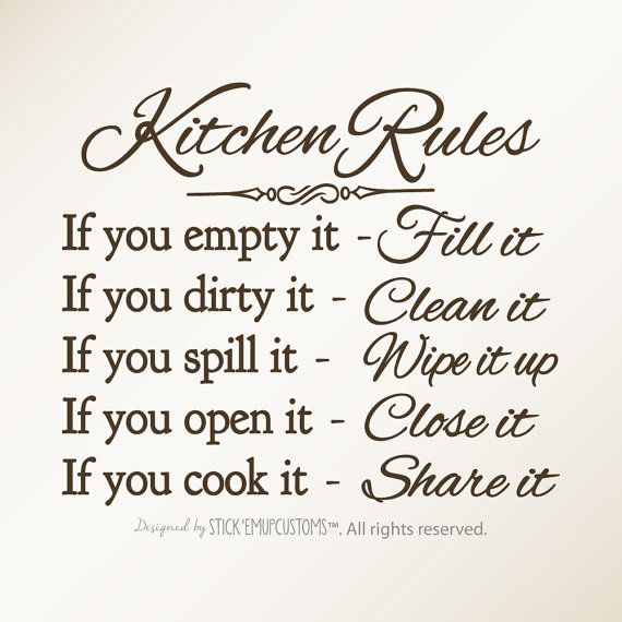 Kitchen Rules Wall Art Decal Dining Room Door StarstruckIndustries 1175