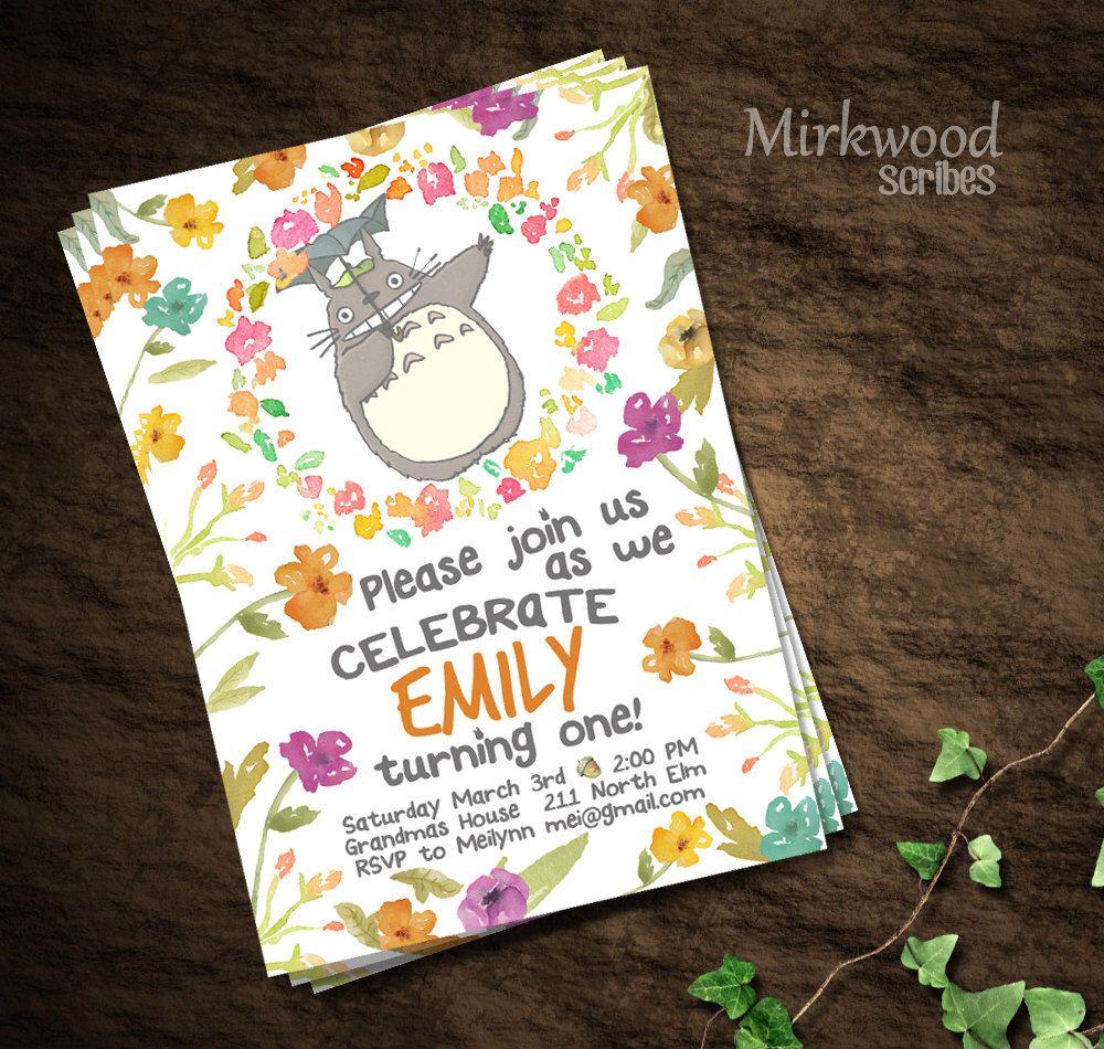 Totoro Birthday Invitation Card Printable Invitation Custom