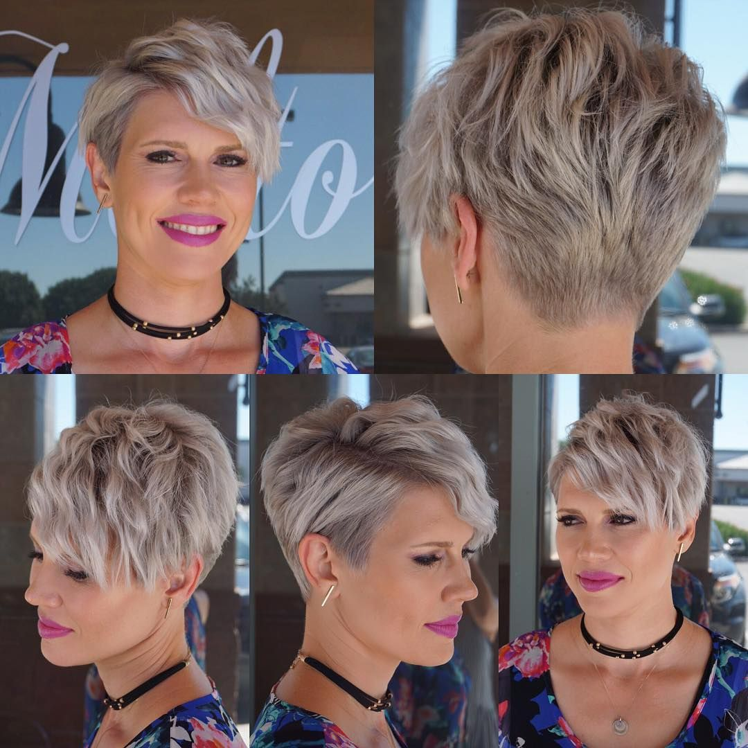 Wavy Platinum Blonde Textured Pixie Crop with Side