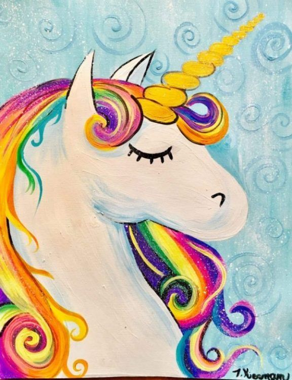 How To Paint A Rainbow Unicorn  Easy is part of Unicorn painting, Kids canvas art, Kids painting party, Simple acrylic paintings, Drawing for kids, Unicorn art - Learn how to paint this rainbow unicorn with acrylic paint on canvas! This is an easy beginner painting tutorial with a traceable and full video!