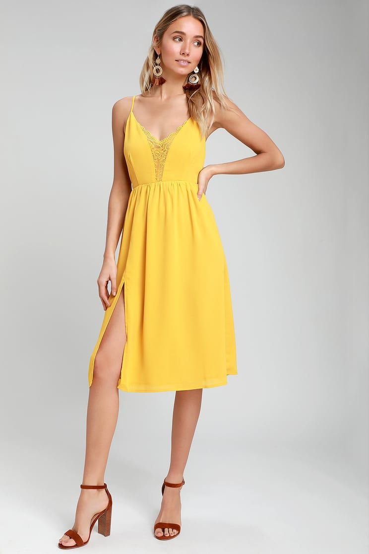 a105f06edf8f Melena Mustard Yellow Lace Backless Midi Dress in 2019 | what to ...