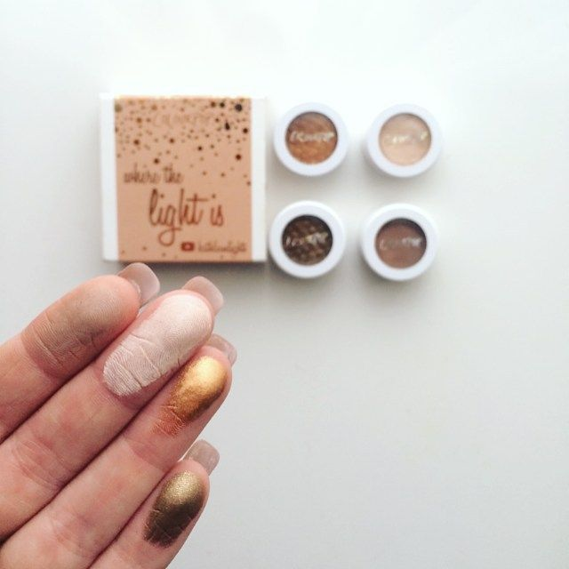 Colourpop cosmetics 'Where the light is' shadow shock eyeshadow collection swatches • From left to right: 'Cornelious', 'Glow', 'Kathleenlights' & 'Blaze'