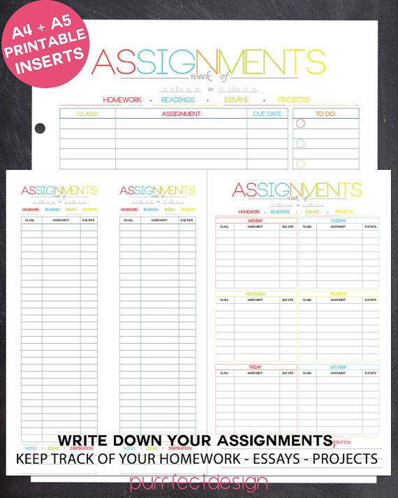 Colorful And Simple Assignment Due Date Sheets For SchoolCollege