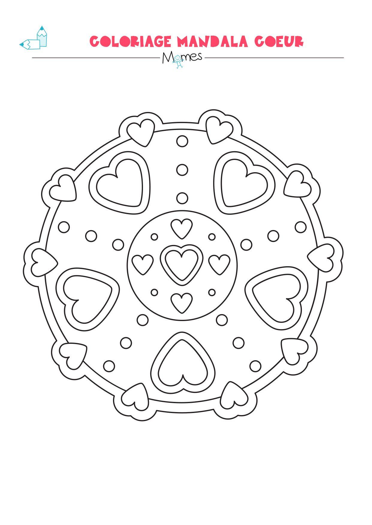 Coloriage De Mandala Damour A Imprimer.Mandala Coeur A Colorier Facile Idees Pour La Saint Valentin Des