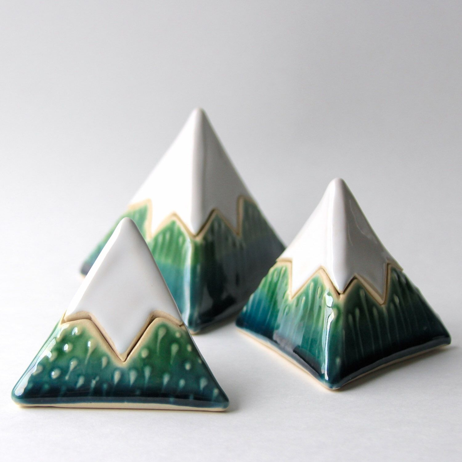 Mountain Box - Lidded Vessel - Geometric Triangle Pyramid - Modern Home Decor - Blue Green White - Ready to Ship by BackBayPottery on Etsy https://www.etsy.com/listing/214690603/mountain-box-lidded-vessel-geometric