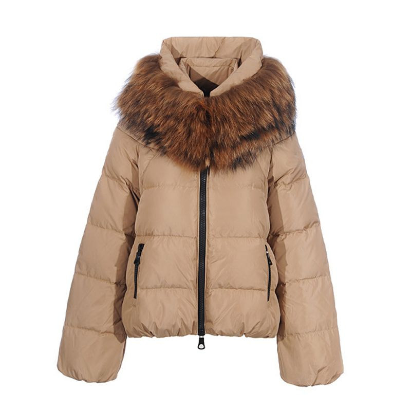 New Moncler Sauvage Down Jackets Women Zip Fur Collar Cream
