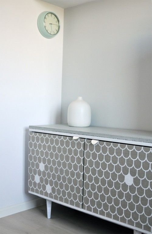 Before & After: Dresser Makeover using Fabric, Shoe Leather and Concrete | Design*Sponge