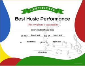 Best Music Performance Certificate Template DOWNLOAD At  Http://certificatesinn.com/best