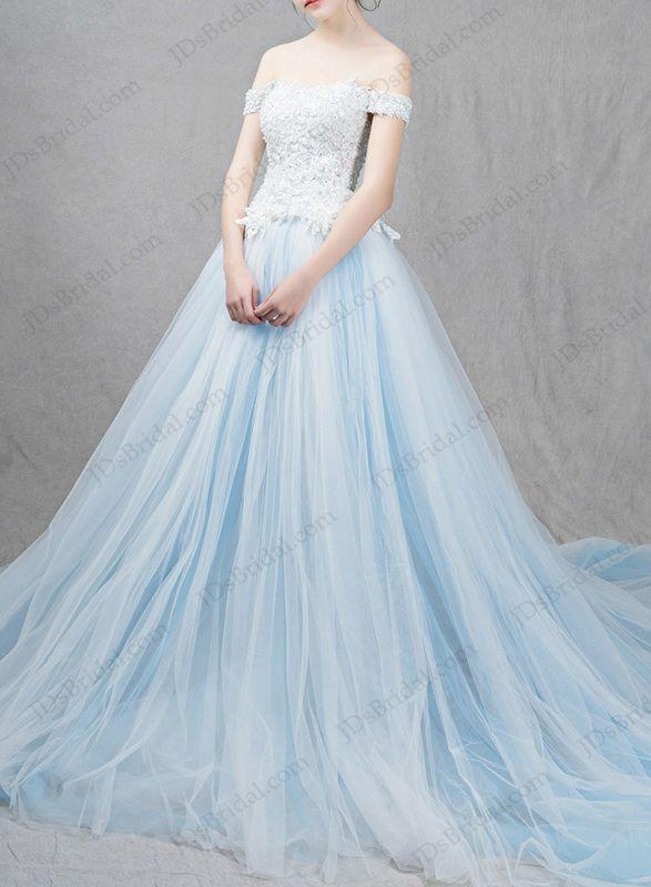IS041 Ocean light blue colored princess ball gown wedding dress ...