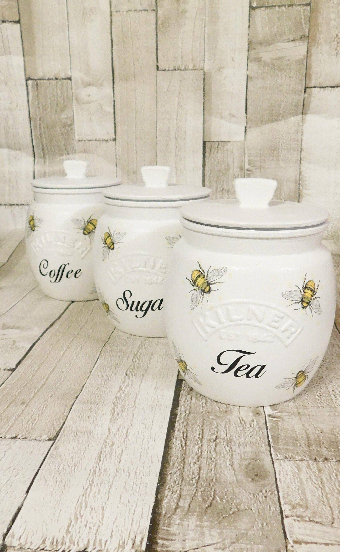 White Bee Kitchen Canisters, Tea Coffee Sugar Jars, Sugar Pot ...