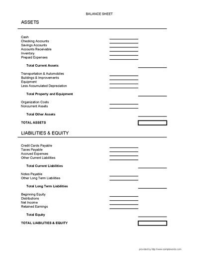 Balance Sheet Form  Balance Sheet Business And Cleaning Business