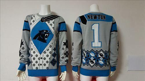 Nike Carolina Panthers 1 Cam Newton Nfl Ugly Sweater Blueonly Us