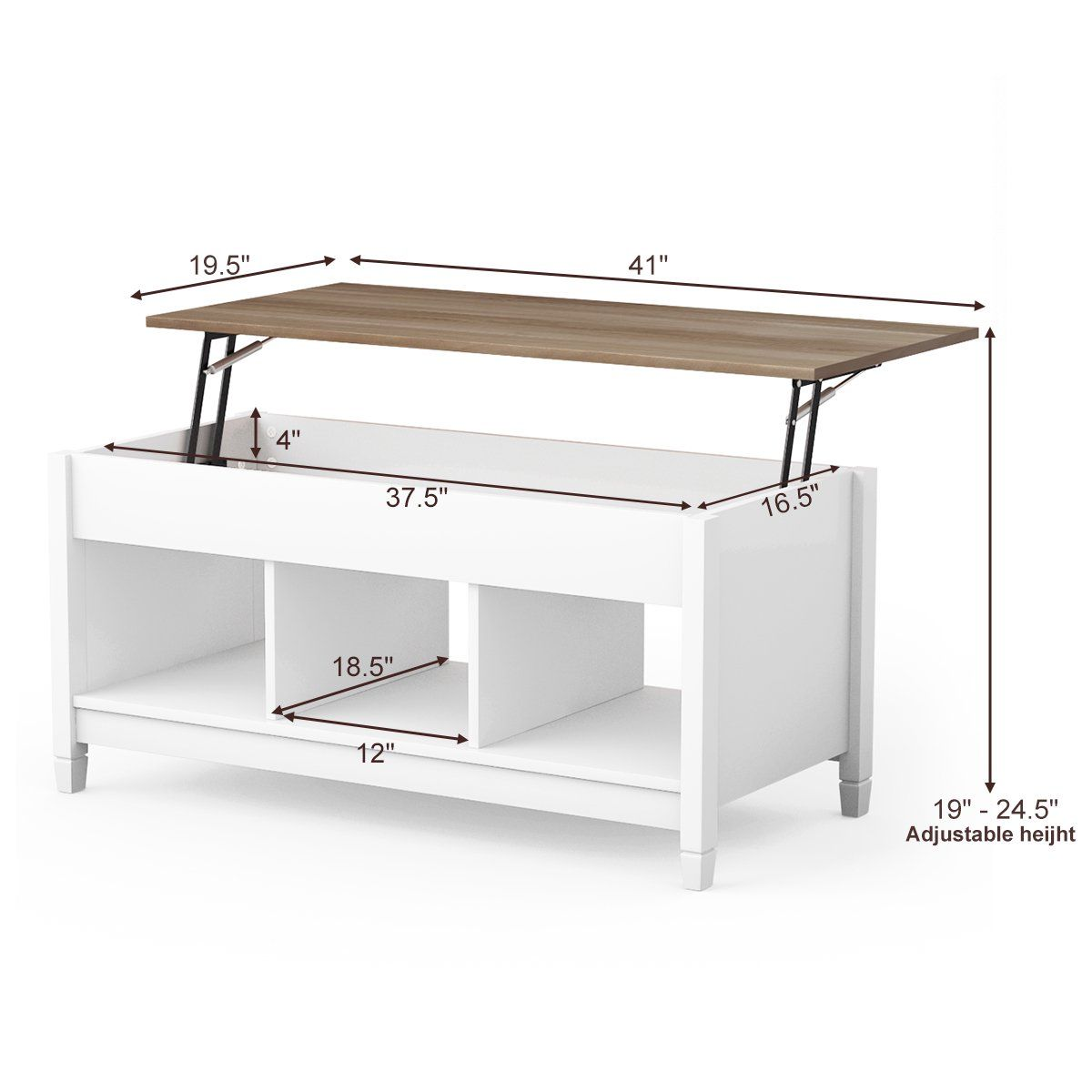 Costway lift top coffee table w hidden compartment and