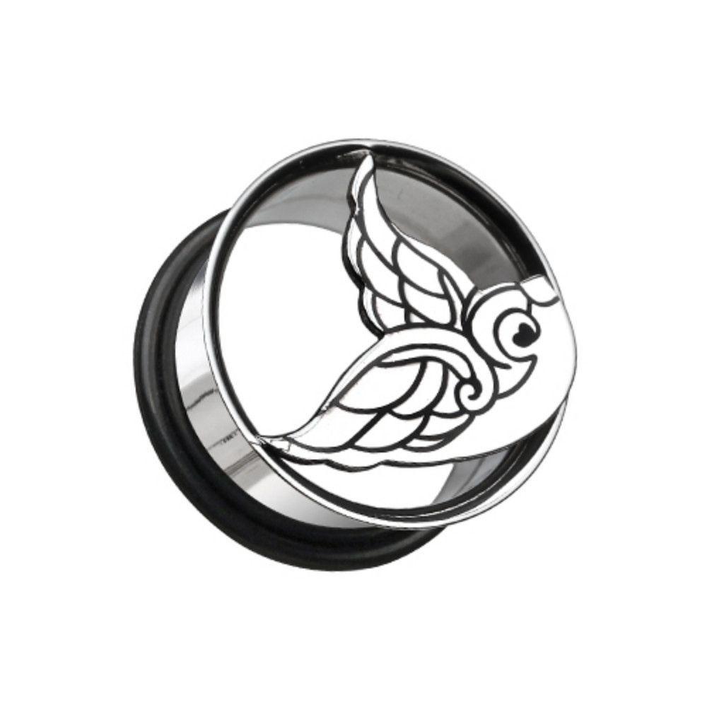 Flying Swallow Hollow Steel Single Flared Ear Gauge Plug
