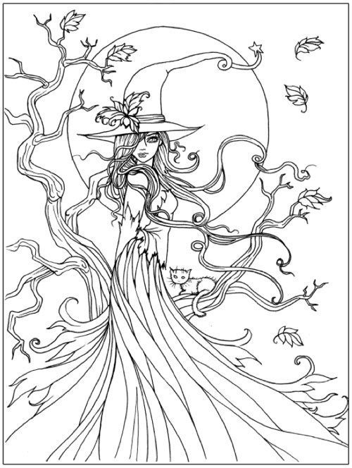 Witch Coloring Page With Images Witch Coloring Pages