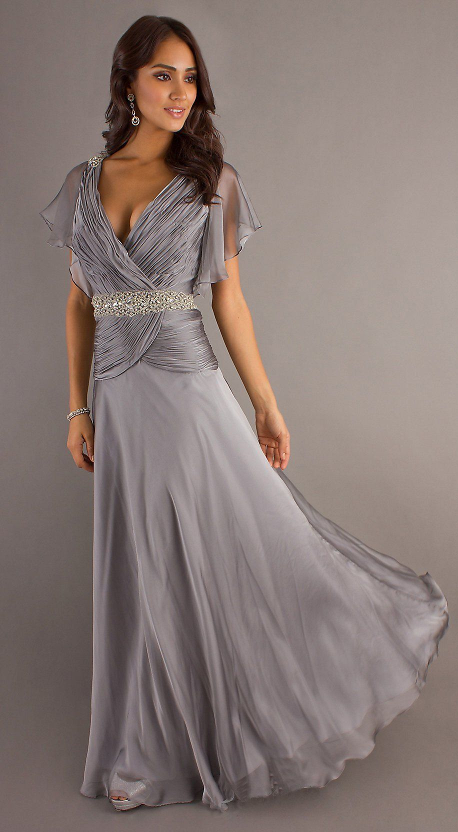 Modest long silver formal gown v neckline short sleeve