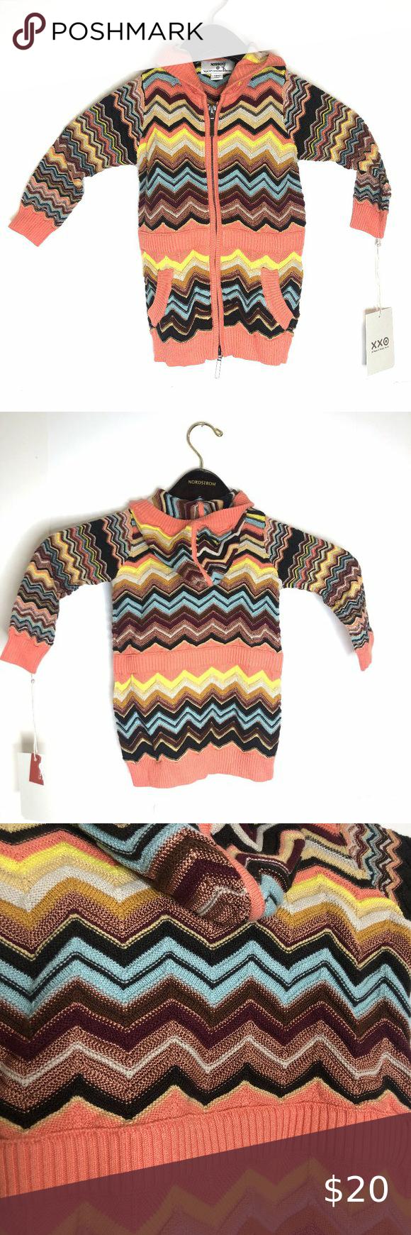Missoni GIRLS Knit Sweater Skirt w// pockets NEW Blue Colore Chevron