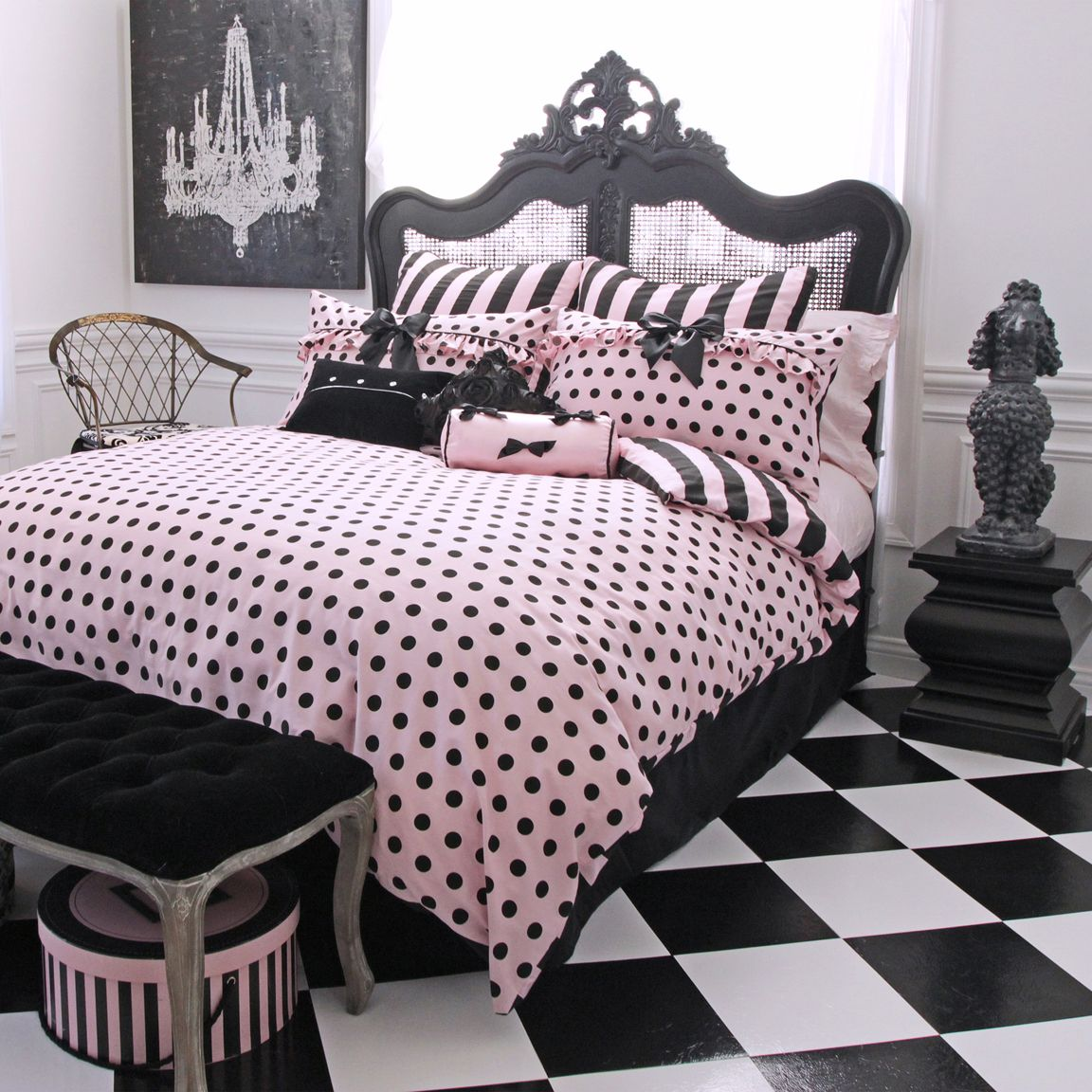 Polka Dot Girl Bedding Black And White