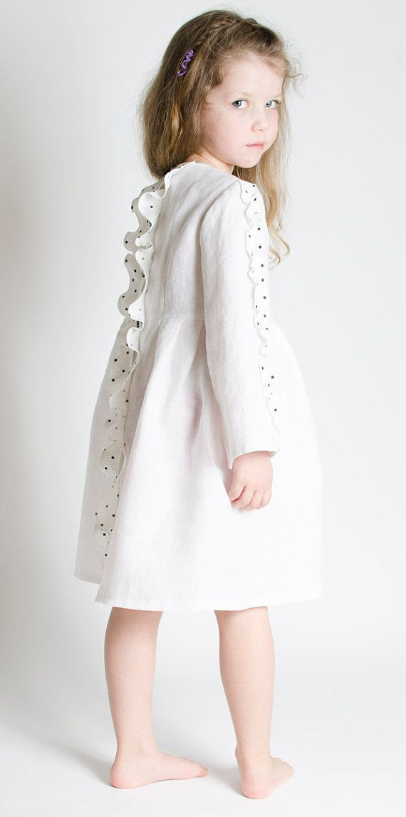 Girls White Linen Dress BUTTERFLY for special occasion | Diana ...