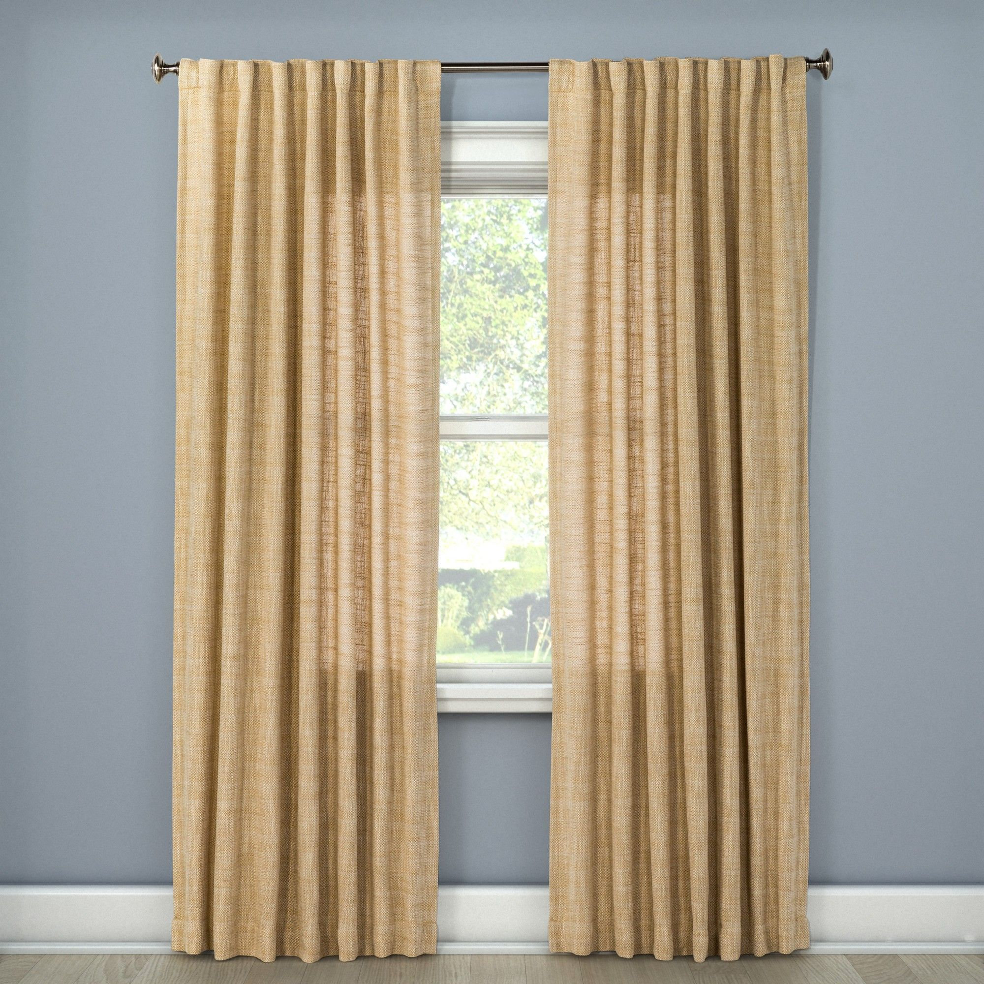 Cheap window coverings  textured weave back tab window curtain panel wheat