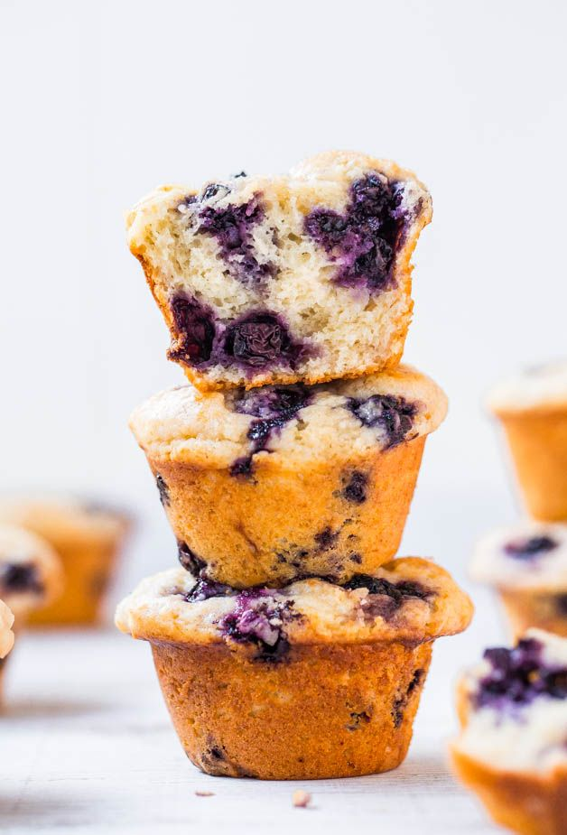 Extra Soft & Moist Blueberry Muffins - No oil & almost no butter