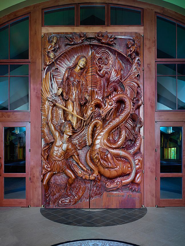 Door in the temporary narthex of Sainte-Marie Catholique Church in Boisy Idaho - Carved by J. Chester (Skip) Armstrong (using chain saws). Large doors 16 ... & Door in the temporary narthex of Sainte-Marie Catholique Church in ...