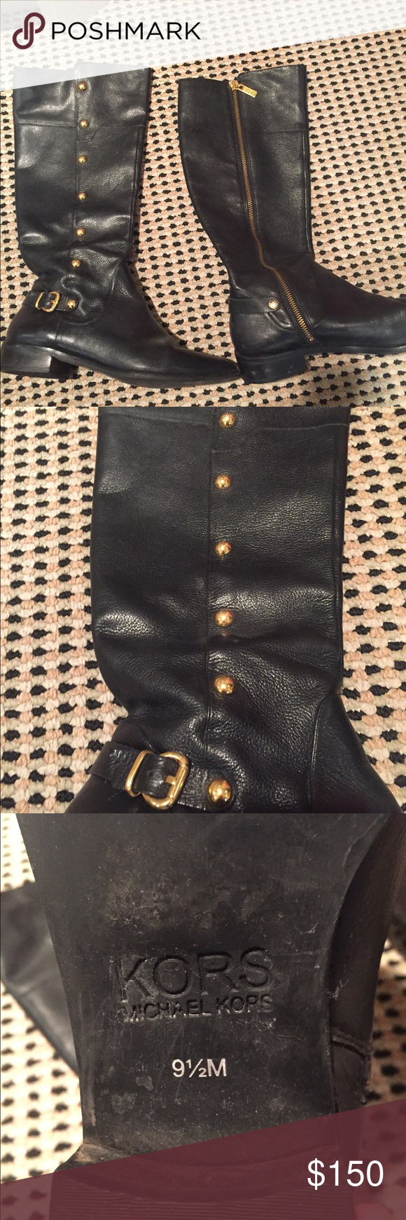 Kors Michael Kors black leather boots 100% authentic black leather boots with amazing gold hardware. In great condition KORS Michael Kors Shoes