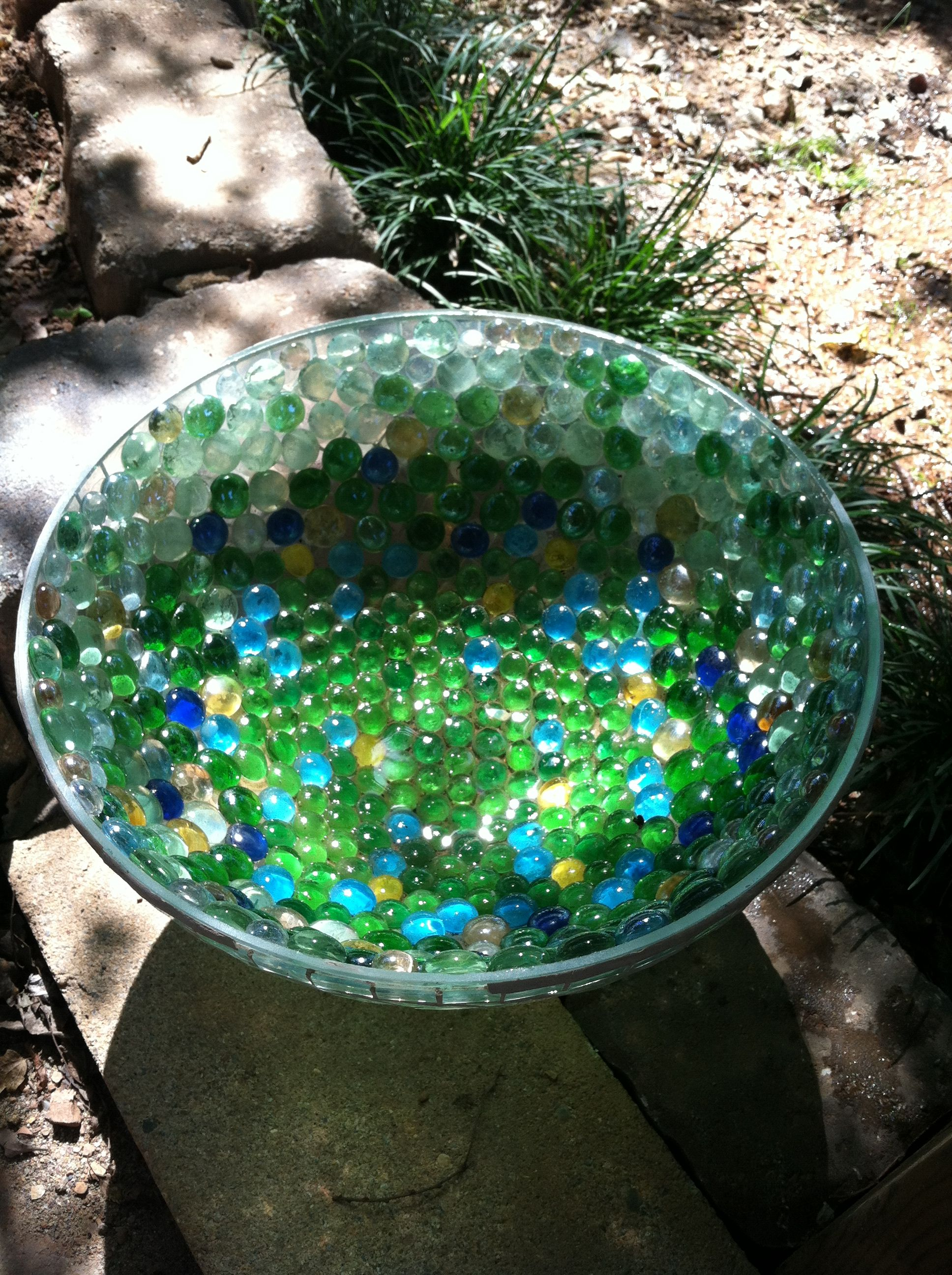 I Glued Glass Decorative Marbles To The Inside Of This Large Glass Bowl Placed Outside On Patio Filled With Water And Floa Glass Crafts Diy Glass Glass Gems Large glass decorative bowl