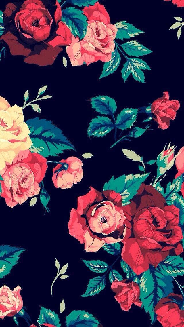 Floral Print Roses On Black Background Wallpaper Iphone Roses Floral Wallpaper Rose Wallpaper