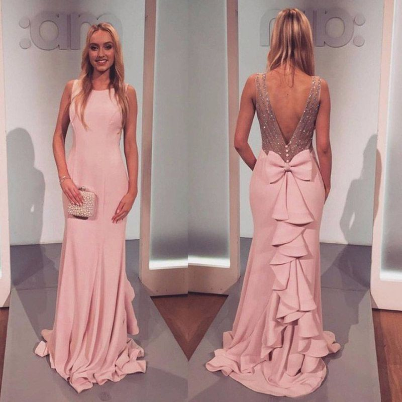 2017 Light Pink Evening Dress Mermaid Evening Gown with Crystal ...