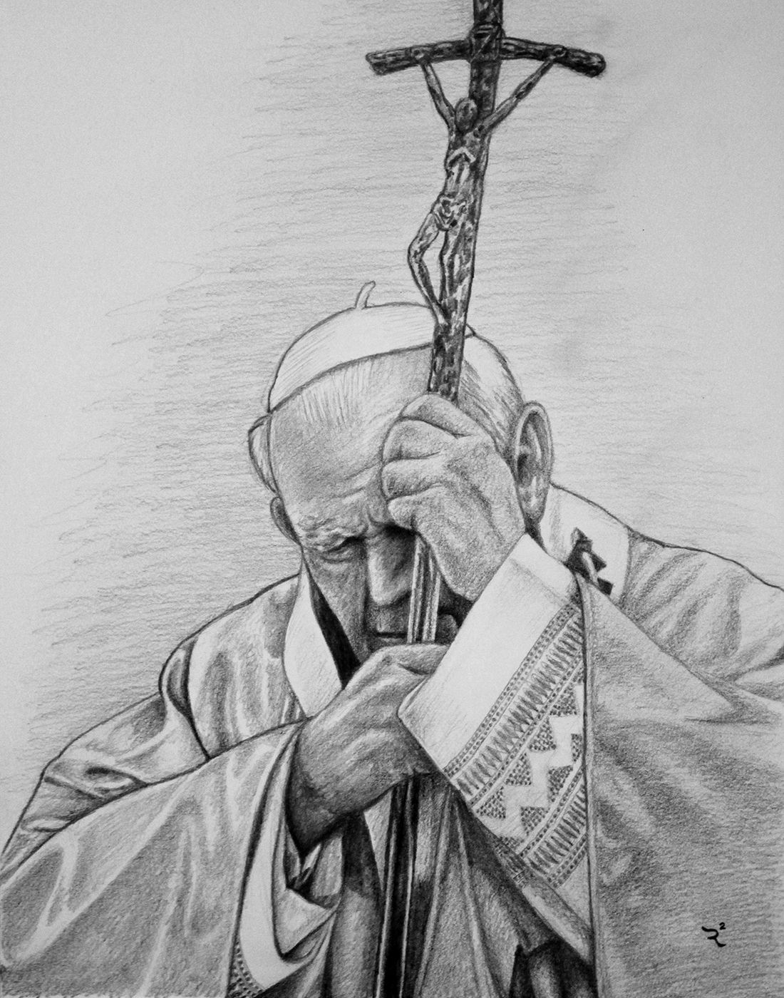 Commissioned Pencil Drawing Of Pope John Paul Ii Pencil Drawings Pope John Paul Ii Drawings