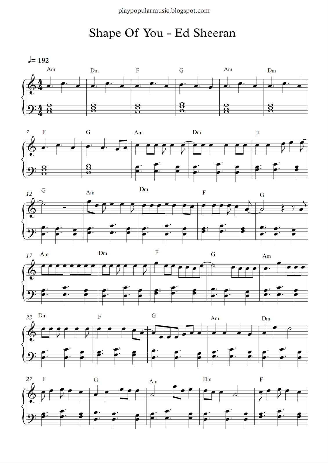 Free piano sheet music: Shape Of You-Ed Sheeran pdf Your