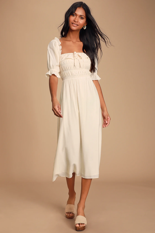 Nahanni Cream Puff Sleeve Smocked Midi Dress White Dresses For Women Little White Dresses White Boho Dress [ 1500 x 1000 Pixel ]