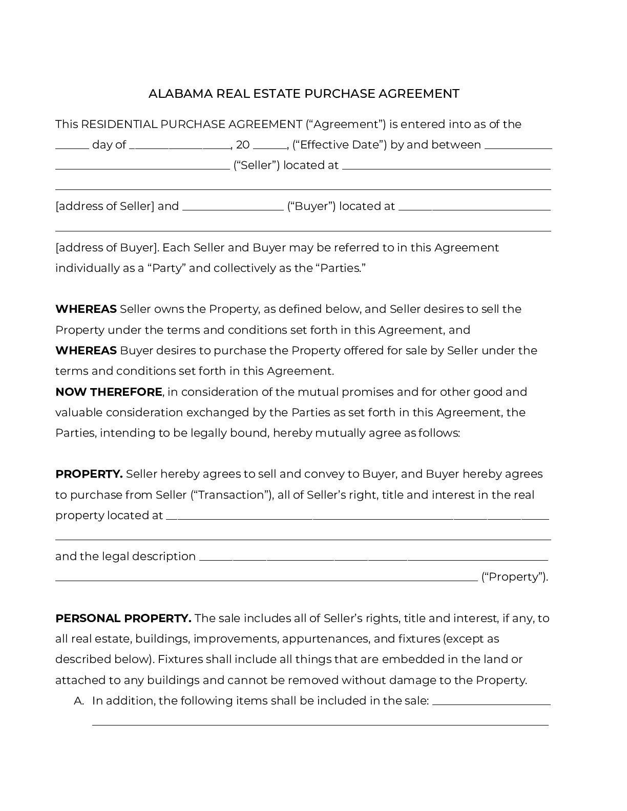 Real Estate Purchase Agreement Template Official Alabama Residential Purchase Agreement 2020 In 2021 Purchase Agreement Contract Template Agreement