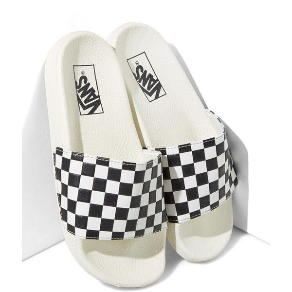 A graphic checkerboard pattern adds eye-catching throwback style to these  easygoing and effortlessly cool slide sandals.