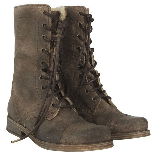 Shearling Suede Military Boot (€140) ❤ liked on Polyvore featuring shoes, boots, zapatos, botas, women, high lace up boots, tall suede boots, military combat boots, high boots und shearling lined boots