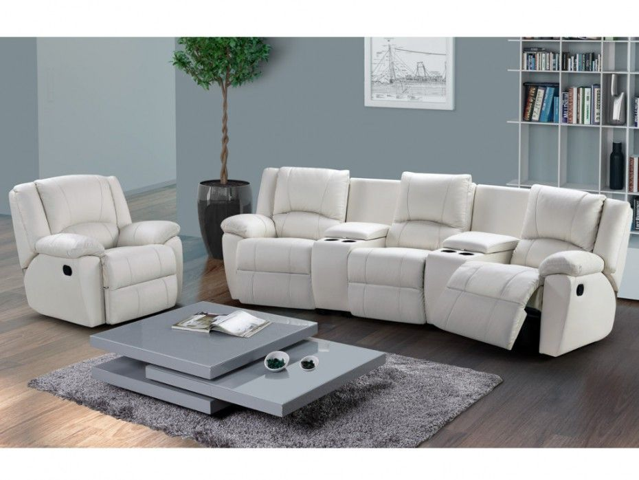 Canape 3 1 Places Relax Aroma Cuir Blanc Canape Vente Unique Bon Shopping Com Promo Canape Canape Fauteuil Relax Cuir
