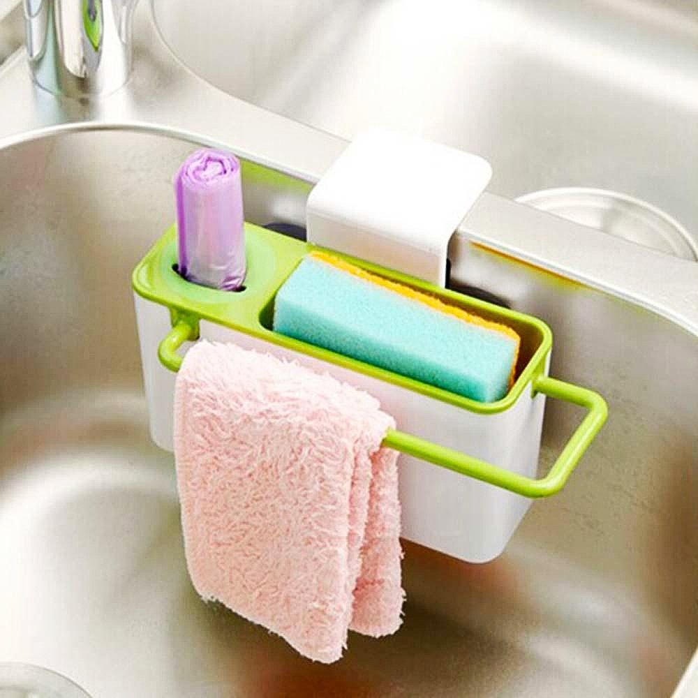 Sponge Scrubber Brush Holder Drainer,Plastic Storage Dry Rack Basket,Suction Sink Corner Organizer for Cleaning Utensils,Dish Soap Towel Shelving Rag Caddy Storage,Dewatering Rack for Kitchen Supplies