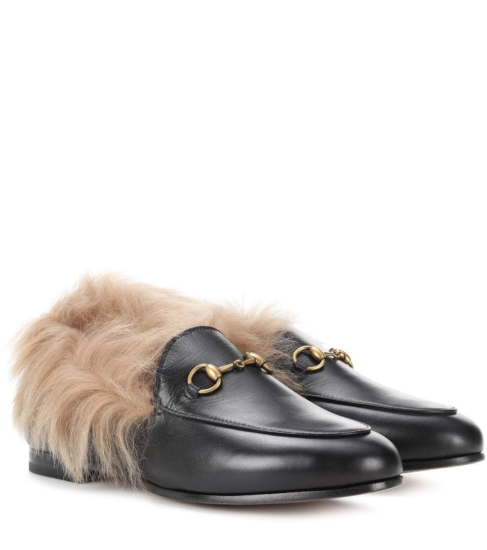 Gucci Black Wool-Lined Jordaan Loafers miszv