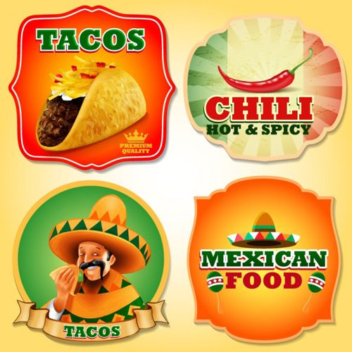 Mexican Food With Tacos And Chili Labels Vector Vector Food Vector Label Free Download Mexican Food Recipes Food Food Clipart
