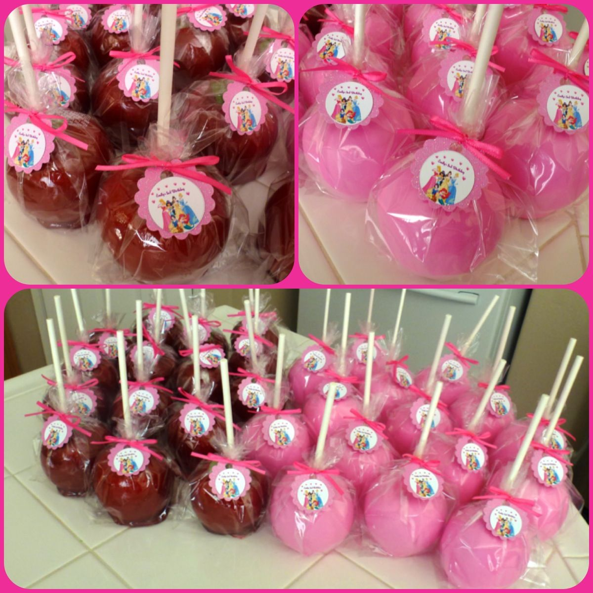 Red candy apples and custom pink chocolate apples with custom ...