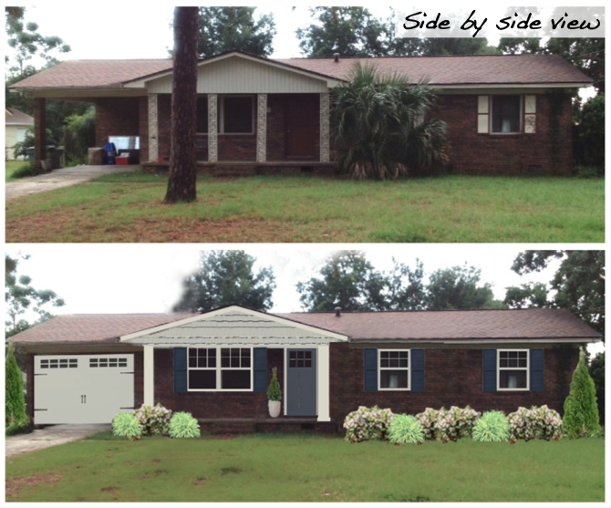 Other services 3a design studio curb appeal before for Brick houses without shutters