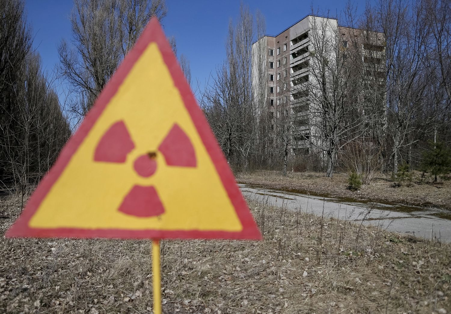 A view of the abandoned city of Pripyat near the Chernobyl Nuclear Power Plant in Ukraine on March 28, 2016.