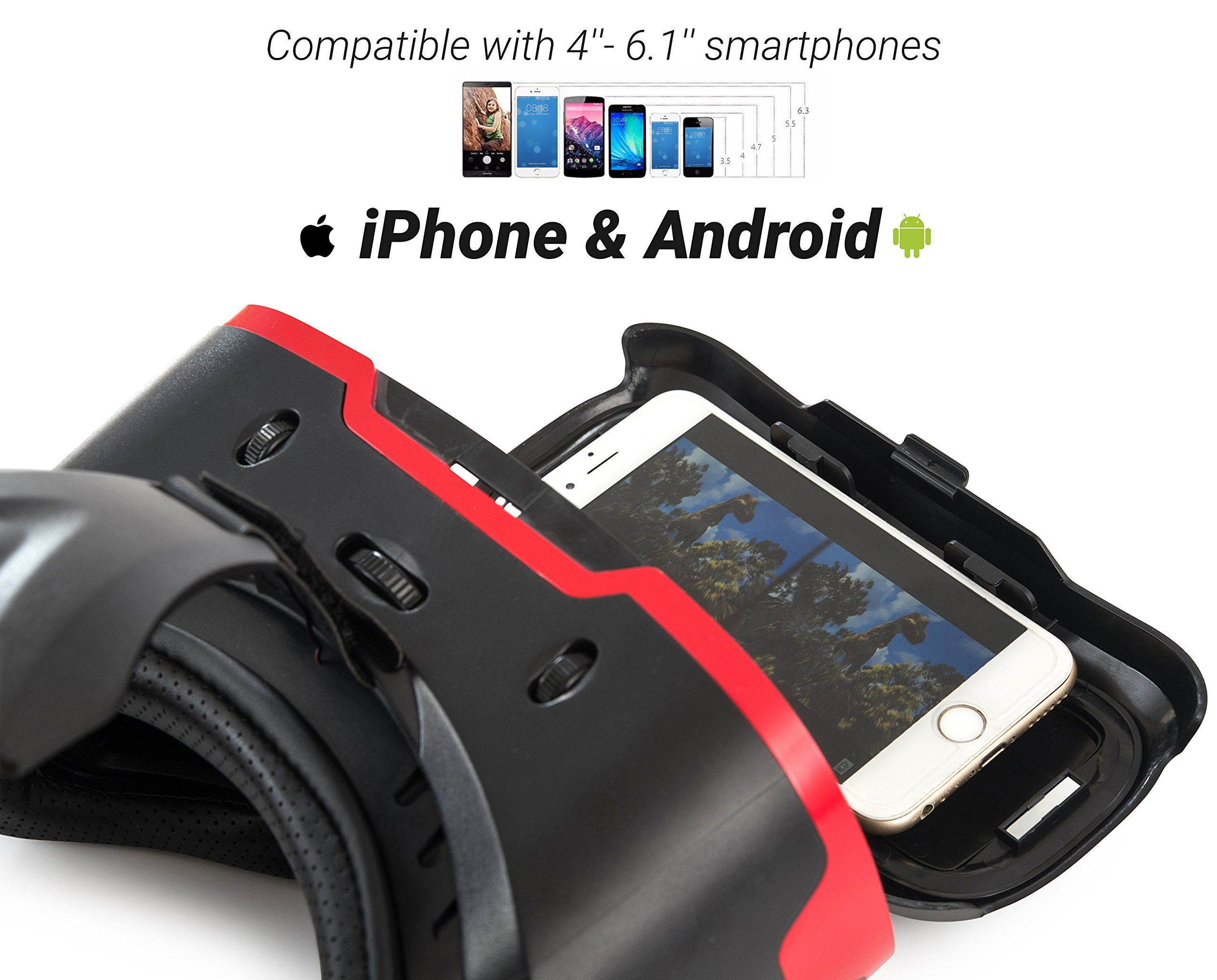 VR Headset for iPhone and Android Phones Premium Virtual