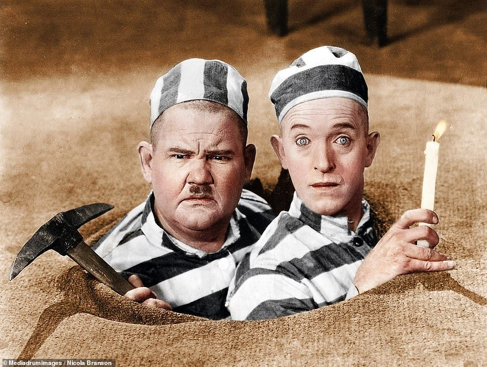 Colorized images of Stan Laurel and Oliver Hardy released before film