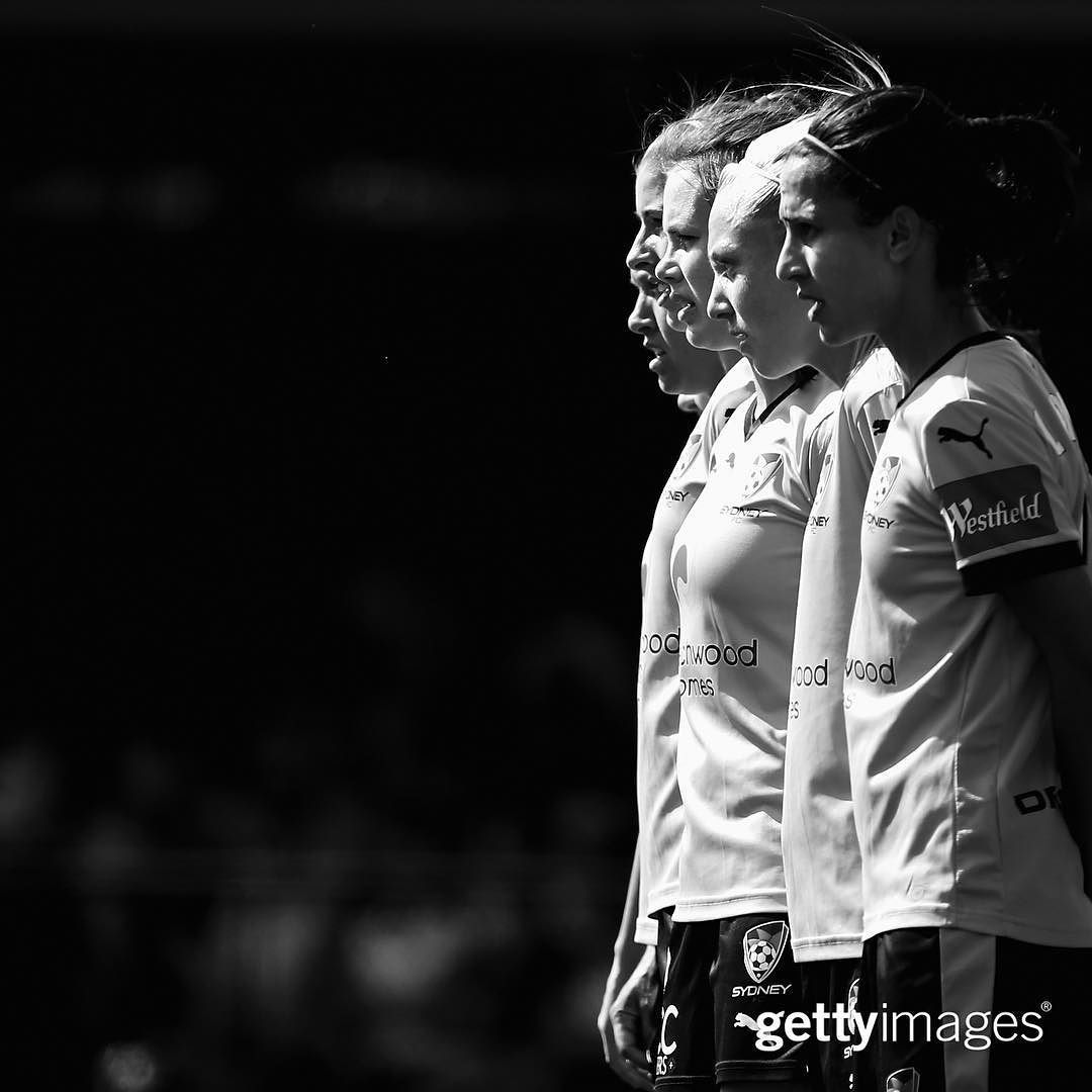 The #SydneyFC defenders form a wall during their round eight W-League match against the Western Sydney Wanderers at Lambert Park in #Sydney #Australia | December 6 2015 | : @markkolbe | #GettyImages #GettySport #football #soccer #blackandwhite by gettyimages