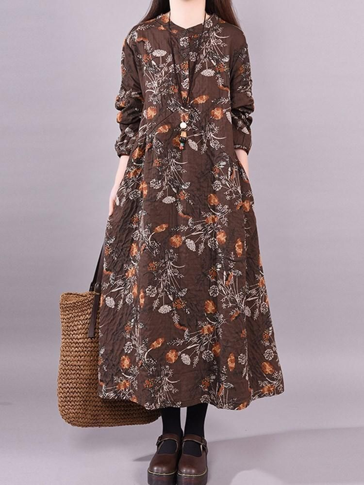 d1a5c2e976ca BUTTON ANKLE-LENGTH LONG SLEEVE FLORAL DRESSES  Dress  Leatrend