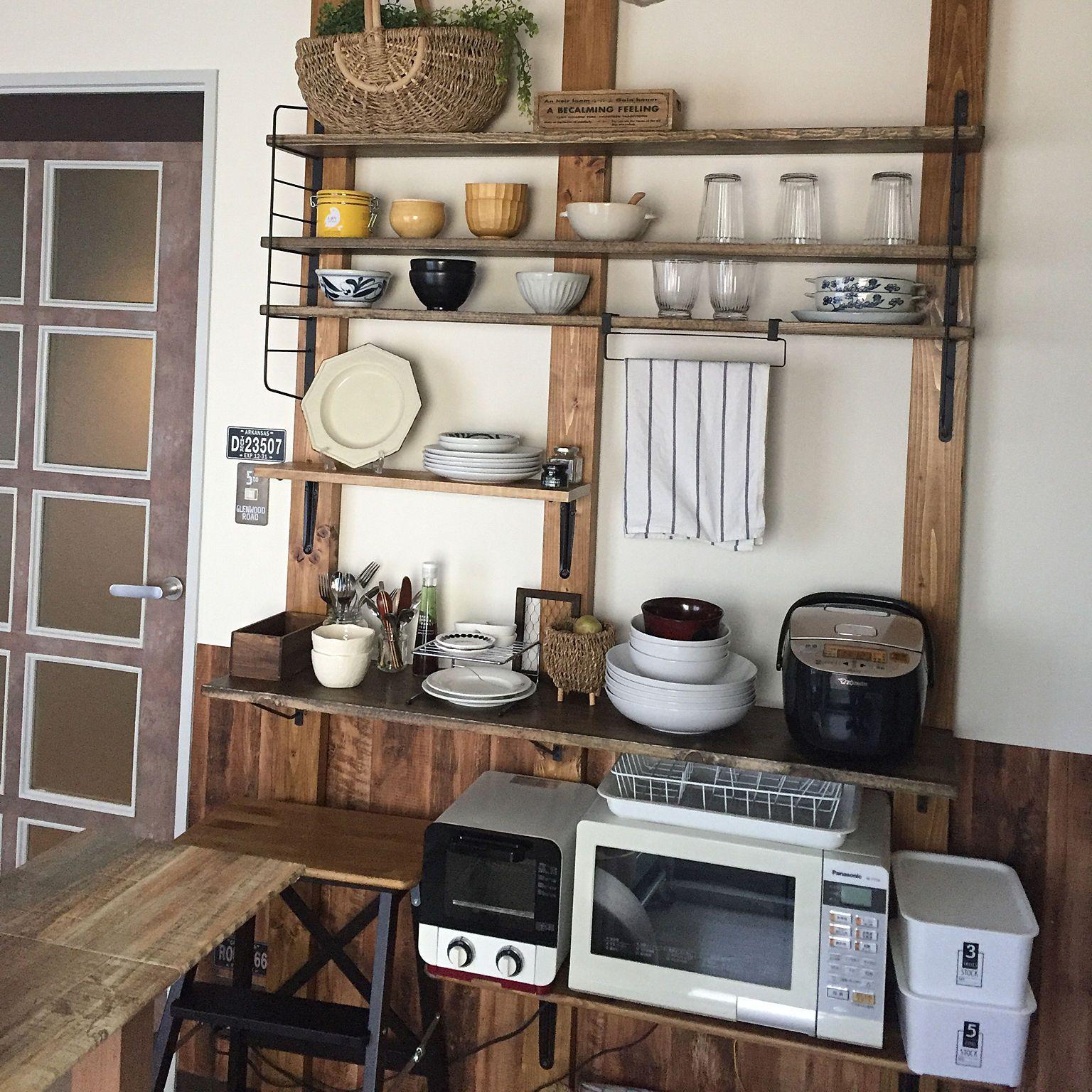 棚 シェルフフレーム 自己流diy 食器棚diy キッチン棚diy などの