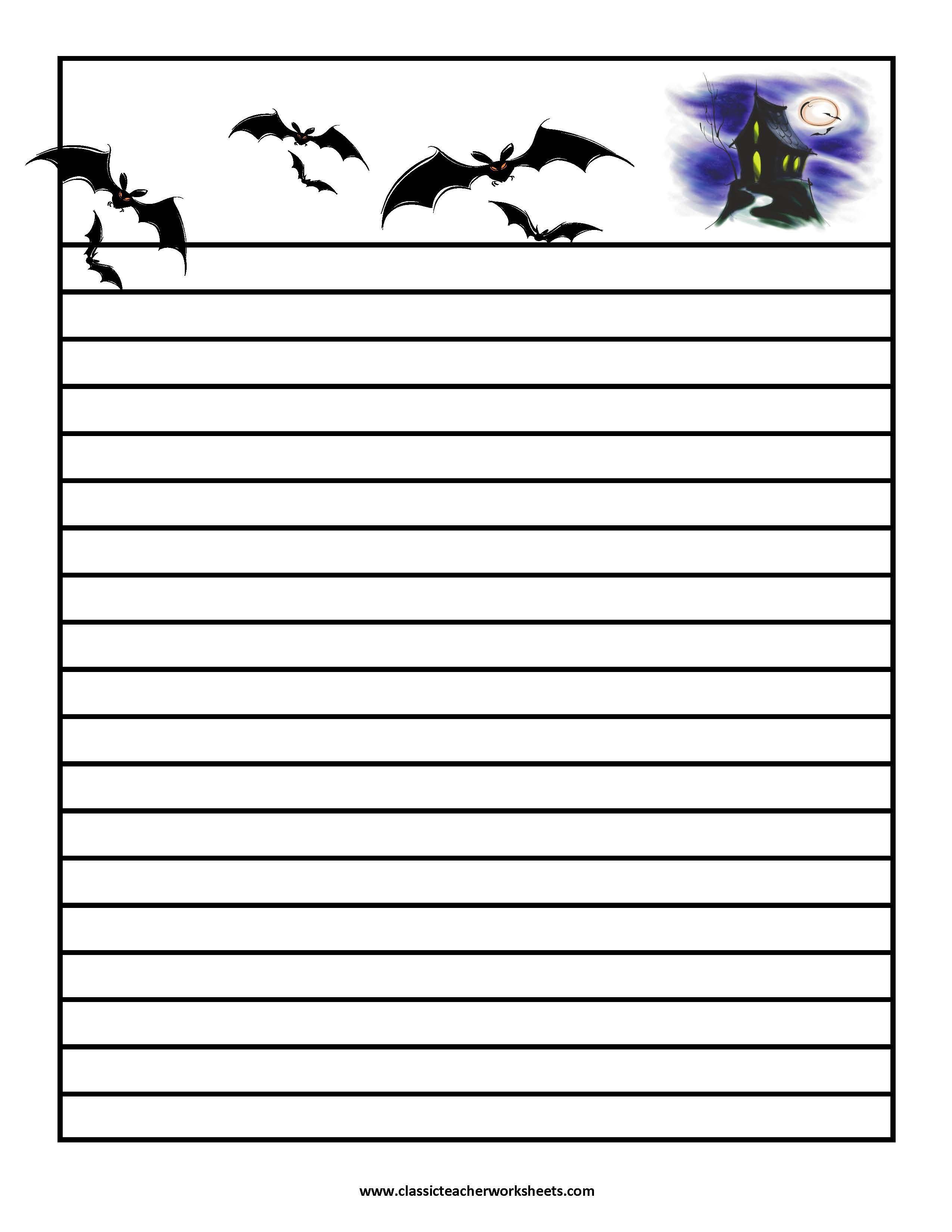 Writing Paper Halloween Haunted House Check Out Our Website Classicteacherworksheets