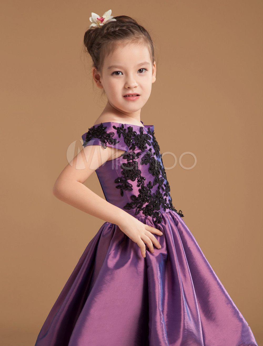 59fda720379 Grace Grape Purple Satin Off The Shoulder Flower Girl Dress  Purple ...
